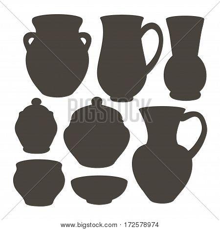 Rustic ceramic utensils, vector images for design and illustration.