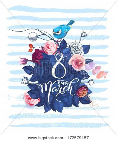 Happy 8 March. Women's day greeting card. Beautiful hand lettering with bunch of spring flowers, leaves and blue bird sitting on it on background. Vector illustration for postcard, invitation, banner