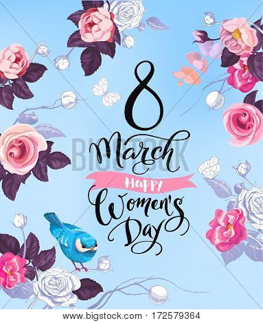 8 March. Happy Women's Day greeting card. Lovely hand lettering surrounded by half-colored roses, butterflies and cute bird sitting on stalk against blue background. Vector illustration for poster