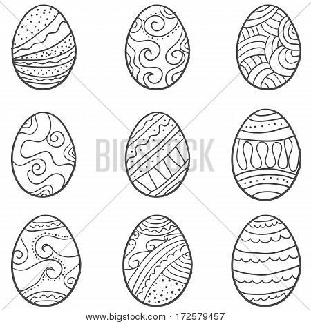 vector art of easter egg set collection stock