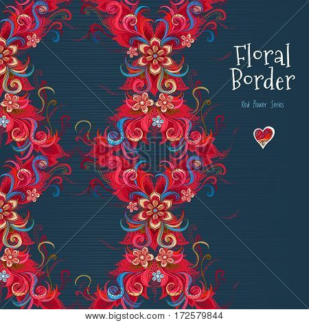 Vector Floral Seamless Border In Red Colors.