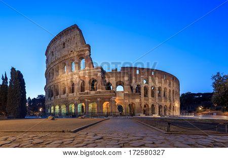 Coliseum in Rome in twilight , Italy