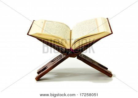 The Holy Quran on a white background poster