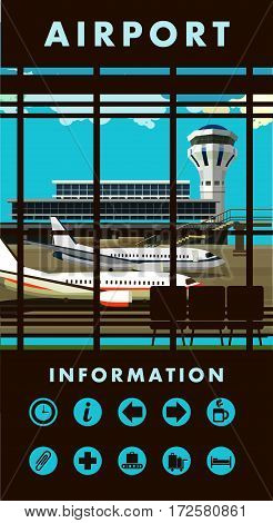 vector illustration of the airport building waiting room large picture window people silhouettes vertical poster an information board with icons and text