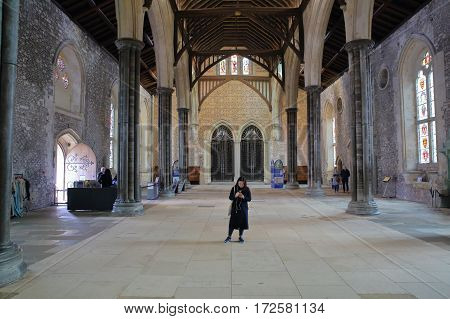 WINCHESTER, UK - FEBRUARY 5, 2017:  The interior of the Great Hall