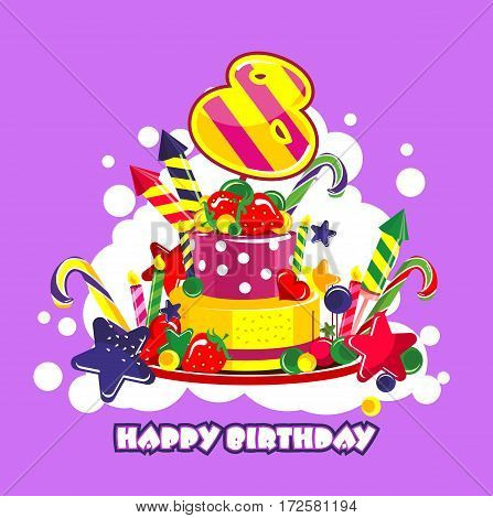 Vector illustration of birthday cake birthday sweets decorated with candles and the number of 8 year