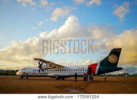 Civil Aircraft At The Airport In Mandalay, Myanmar