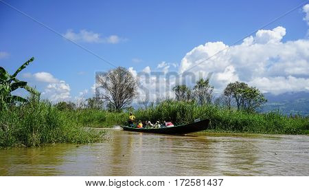 Motorboat Carrying Tourists On The Canal