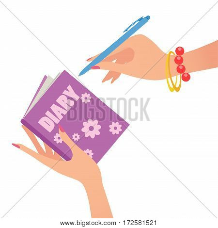 Diary Note. Vector illustration on white background