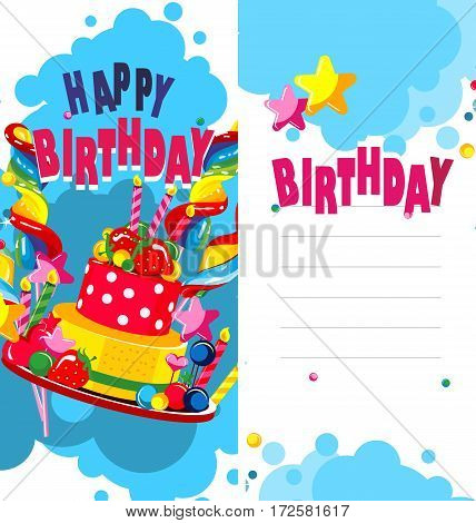 Vector illustration of birthday cake and sweets on a bilateral leaflet second side of space for text