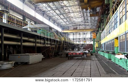 Manufacture Of Water Turbines. The Huge Machine Turbine Production. Large Parts Of The Plant.