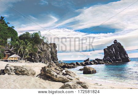 Tropical beach with stones and rocks. Sand beach view with cloudy sky. Nature of tropical island. Exotic seaside digital illustration. Still sea water and sunny beach. Relaxing vintage paradise image