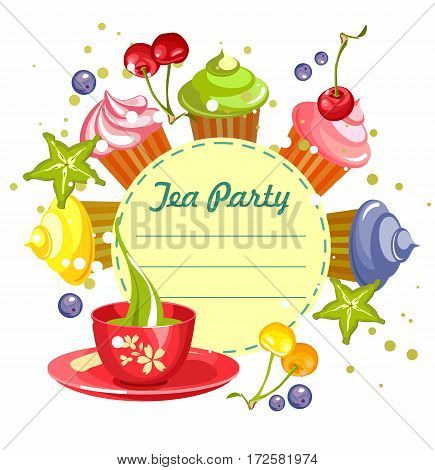Vector illustration of sweets cupcakes with fresh berries cherry cannons around the circular blank forms for menu prompts with a cup of green tea on a white background.