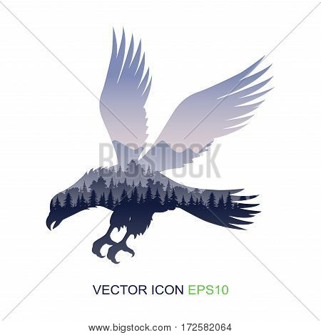 Silhouette of an eagle. Logo. Images of wildlife and an eagle. Vector illustration.