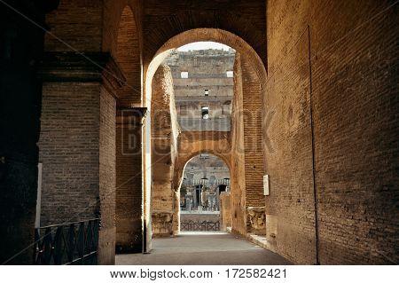 Colosseum interior view in Rome Italy