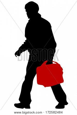 Man whith travel big suitcases on white background