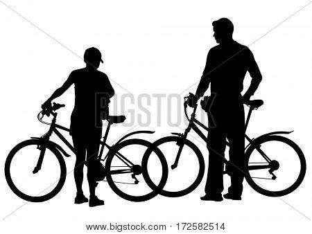Sport man whith bike on white background