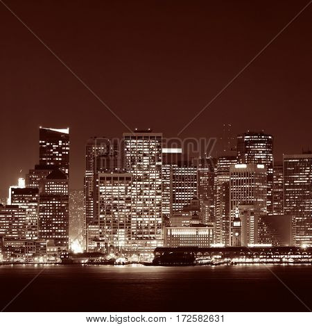 San Francisco city skyline with urban architectures at night in black and white.