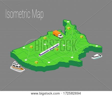 Map usa isometric concept. 3d flat illustration of Map usa.