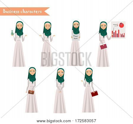 Emotion faces. Arab Girl character for scenes. Funny Arab office woman cartoon.Vector illustration isolated on white background. Business Elements for web design