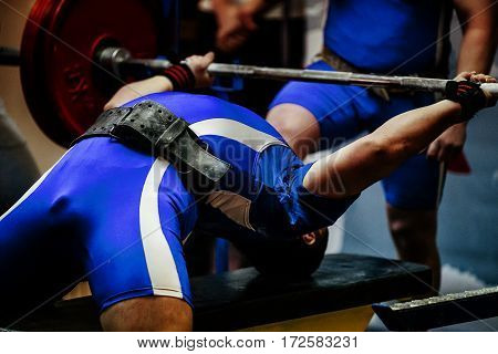 male athlete powerlifter competitions bench press barbell
