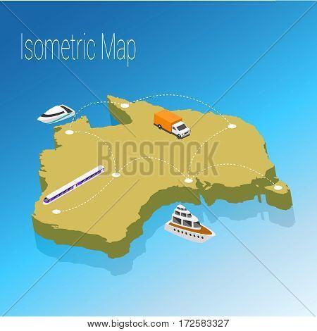 Map australia isometric concept. 3d flat illustration of Map australia.