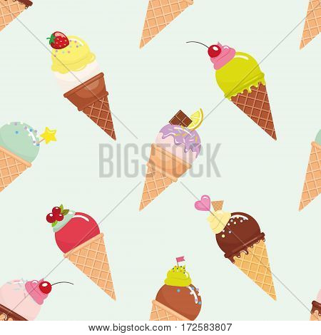 Ice cream cone seamless pattern background. Realistic. Bright and pastel colors. For print and web. Vector EPS10.