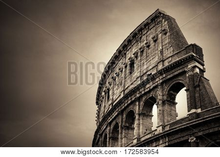 Colosseum closeup view, the world known landmark and the symbol of Rome, Italy.