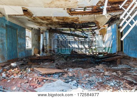 One of the rooms of an abandoned medical sanatorium.. In the 20th century the sanatorium was used as a treatment sanatorium and summer camp.