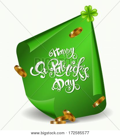 Greeting card design with creative text Happy St. Patrick s Day on green curved, paper banner isolated on white background.Vector illustration.Lettering typography.