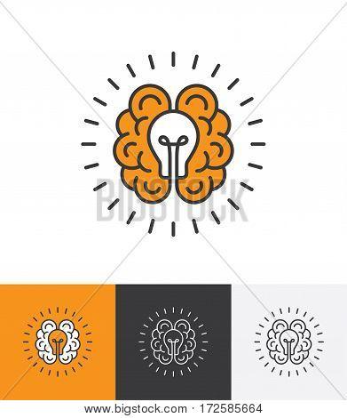 Mono line icon with brain and light bulb. Creative idea mind thinking logo concept