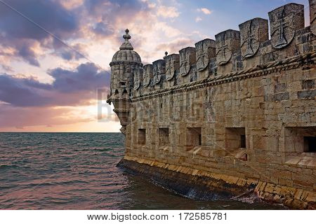 Belem tower in Lisbon Portugal at sunset