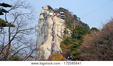 Mount Hua is a mountain located near the city of Huayin in Shaanxi province