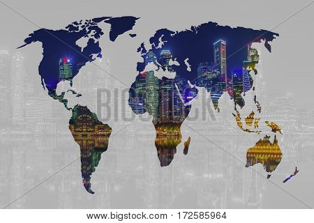 Double exposure world map and Singapore city background. Elements of this image furnished by NASA