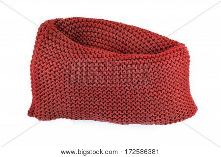 Knitted Brick Color Scarf Isolated On A White Background Closeup