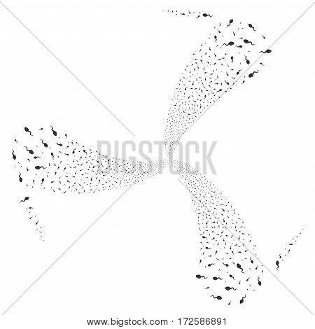 Spermatozoon fireworks swirl rotation. Vector illustration style is flat gray iconic symbols on a white background. Object twirl organized from random icons.