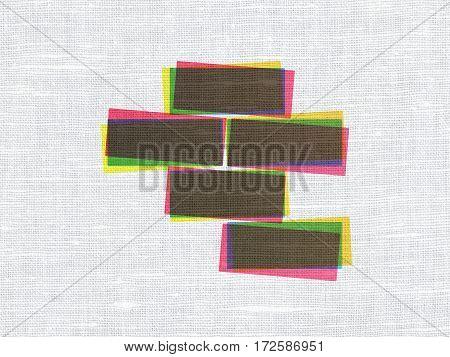 Building construction concept: CMYK Bricks on linen fabric texture background