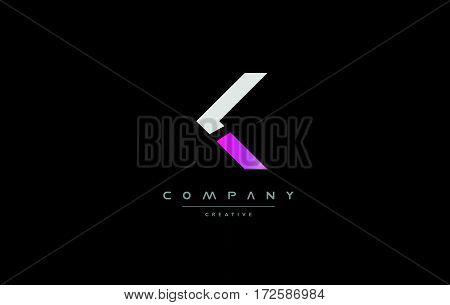 K Pink Black White Creative Modern Letter Logo Icon Design Vector
