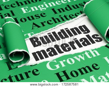 Construction concept: black text Building Materials under the curled piece of Green torn paper with  Tag Cloud, 3D rendering