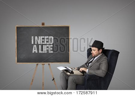 I need a life text on  blackboard with businessman and key