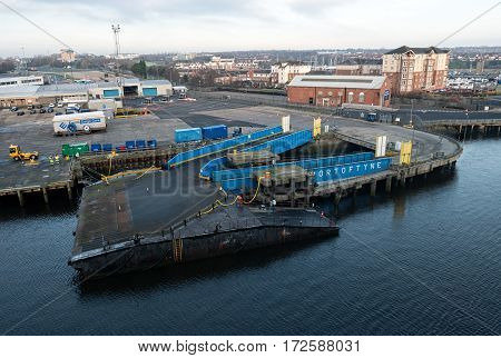 NEWCASTLE, ENGLAND - 21 JAN 2017: View on the passenger terminal in the Port of Tyne, Newcastle. The North Shields cruise port welcomes up to 50 ferry ships a year and is the gate to northern England