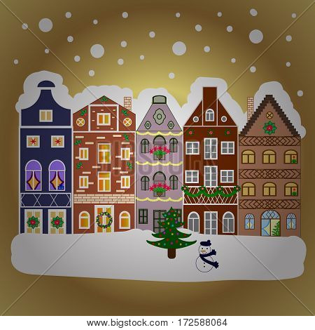 Vector illustration. Village in Christmas banner on background with snow and snowflakes. Greeting card.