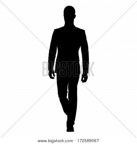 Business man walking forward, isolated vector silhouette