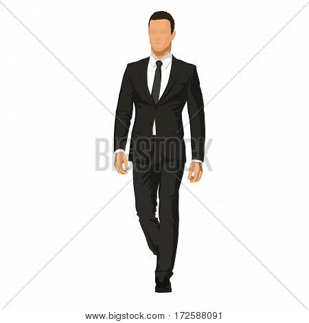 Business man in dark suit goes forward. Handsome model abstract vector illustration. Leader manager or lawyer