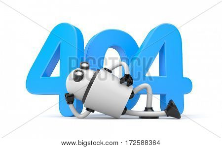 Robot rests next to the numbers 404 - Page Not Found Error 404. 3d illustration