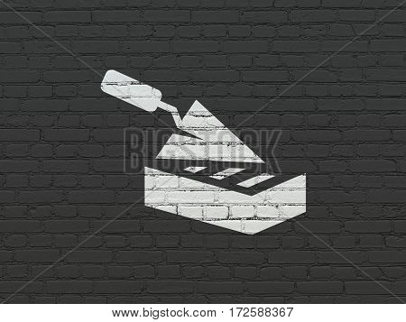 Construction concept: Painted white Brick Wall icon on Black Brick wall background