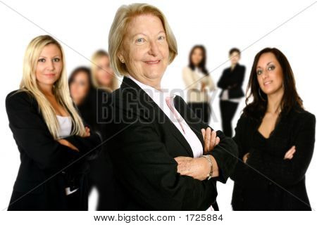 Caucasian Businesswoman Leading A Diverse Team