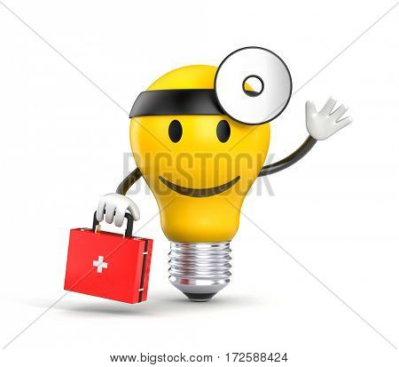 Character light bulb dressed as a doctor. 3d illustration