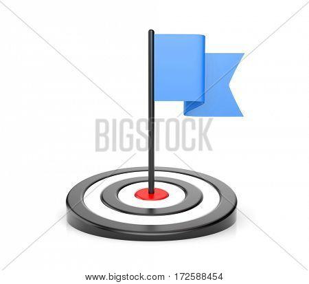 Goals - blue flag and black target. 3d illustration