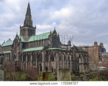 View on the exterior of Glasgow Cathedral from Necropolis. It is also named the High Kirk of Glasgow or St. Mungo's Cathedral and survided the Reformation